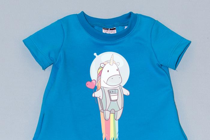 Rochie cocon albastra cu maneca scurta unicorn 1