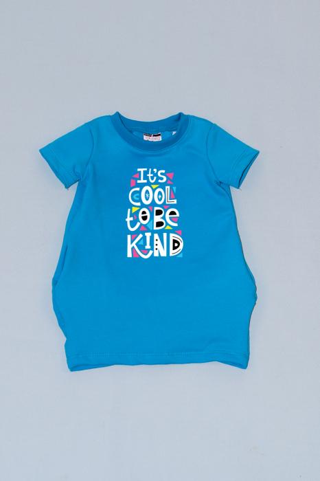 Rochie cocon albastra cu maneca scurta - Cool To Be Kind 0