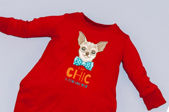 Rochie cocon roșie cu mâneci lungi - Dog 1