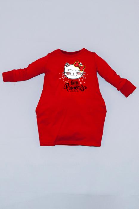 Rochie cocon roșie cu mâneci lungi - Pisicuta 0