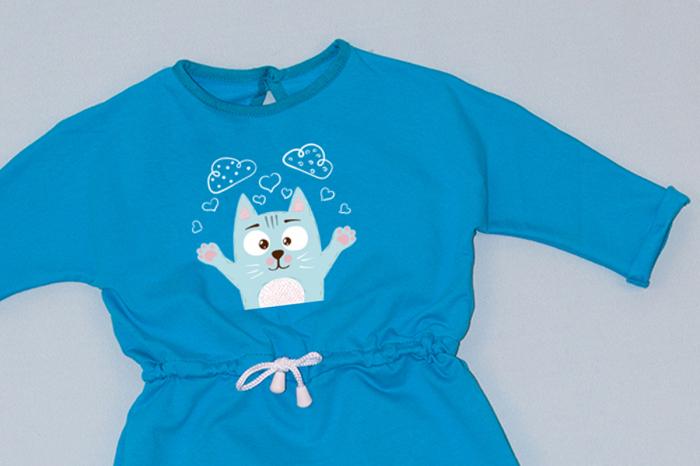 Rochie cu șnur în talie albastră - Pisicuță [1]