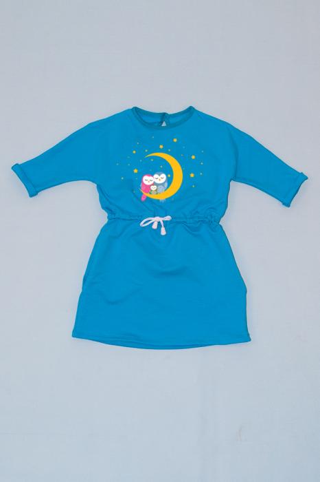 Rochie cu șnur în talie albastră - Bufnițe [0]