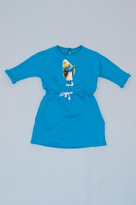 Rochie cu șnur în talie albastră - Ștrumfița 0