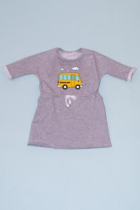Rochie cu șnur în talie gri - Bus 0