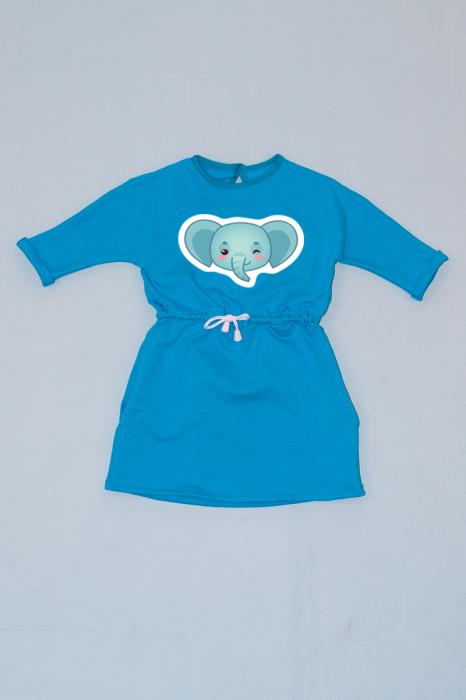 Rochie cu șnur în talie albastră - Elefănțel 0