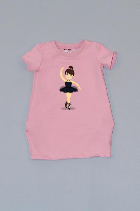 rochie cocon roz cu maneca scurta balerina 0