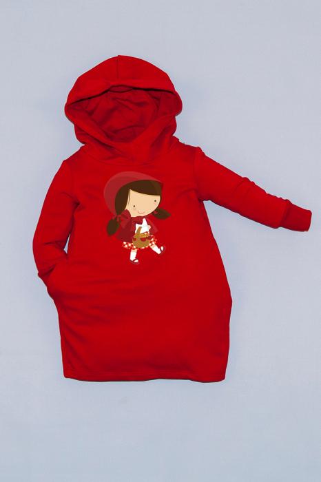 Rochie roșie cu glugă - Scufita Rosie 0