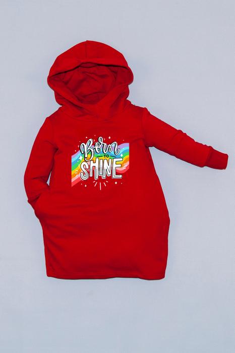 Rochie roșie cu glugă - Born To Shine 0