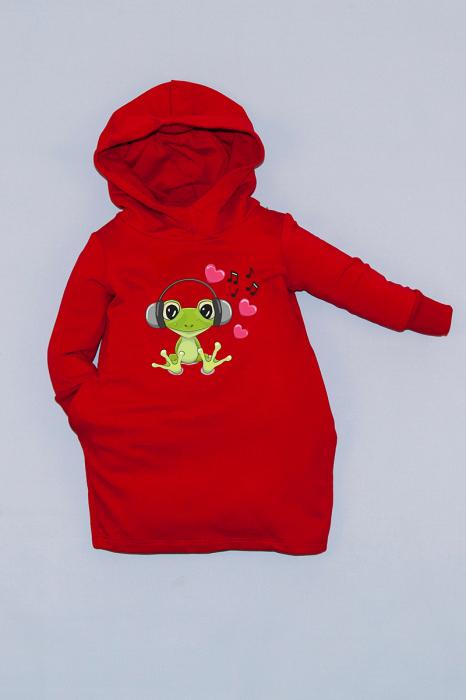 Rochie roșie cu glugă - Frog 0