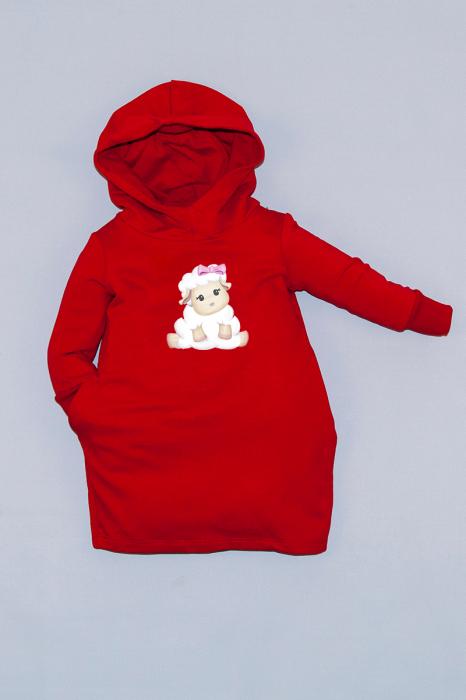 Rochie roșie cu glugă - Sweet Sheep 0
