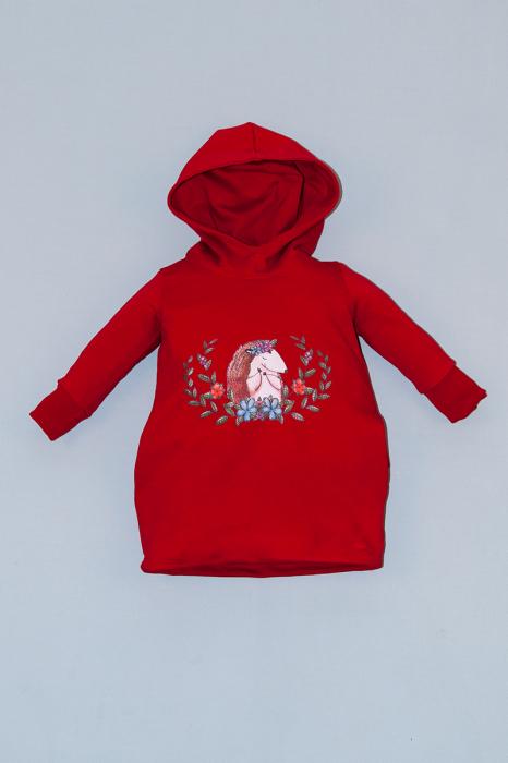 Rochie roșie cu glugă - Arici [0]