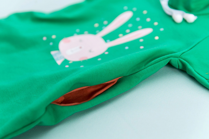 Rochie Hbebe verde cu glugă - Iepuraş 2
