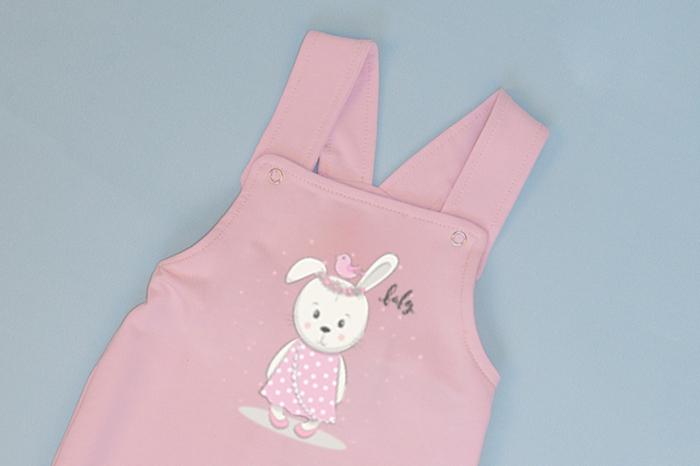 Salopeta Roz cu Bretele Baby Rabbit 1
