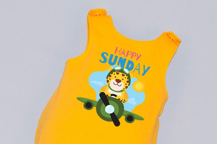 Salopeta Galbena capse pe umar Happy Sunday [1]