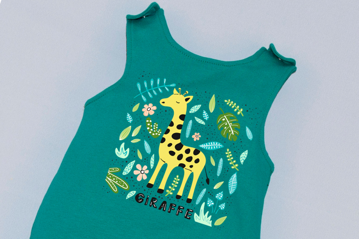 Salopeta Verde capse pe umar Girafa 1