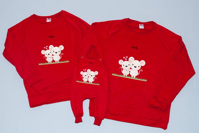 Set Bluze Mice Family -  Red 0