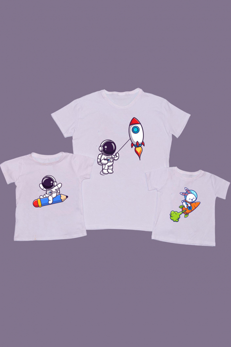 Set Tricouri Tata - 2 copii Cosmic Fun [0]