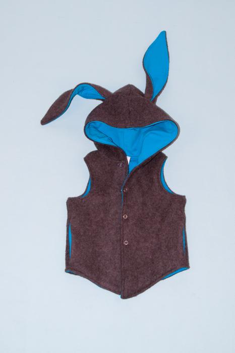 Vesta Iepuras din lana fiarta - Brown 0
