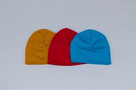 Caciulita Bumbac Simpla - Set 3Buc - Mustar, Rosu, Albastru [0]
