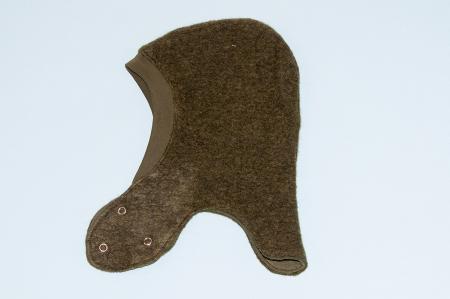 Cagulă dublată fleece lână fiartă - capse - Dark Green1