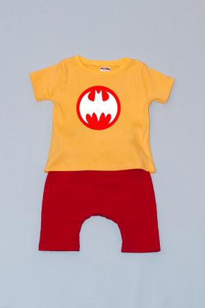 Compleu Tricou cu Pantalon Baggy Rosu Batman0