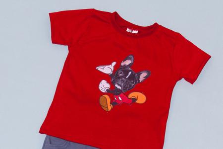 Compleu Tricou Rosu cu Pantalon Scurt Gri Dog1