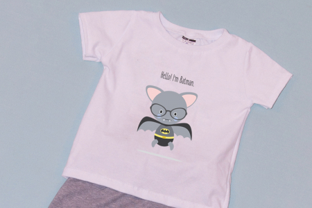 Compleu Tricou Alb cu Pantalon Baggy Gri I'm Batman1