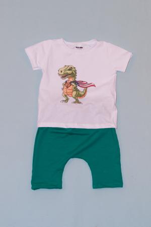 Compleu Tricou Alb cu Pantalon Baggy Verde Dragon0