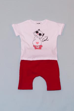 Compleu Tricou Alb cu Pantalon Baggy Rosu Cool0
