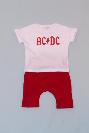 Compleu Tricou Alb cu Pantalon Baggy Rosu AC DC0