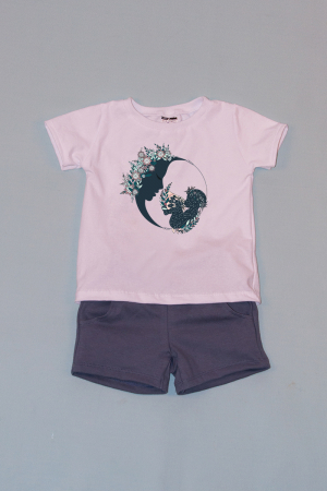 Compleu Tricou Alb cu Pantalon Scurt Gri Moon Flowers0
