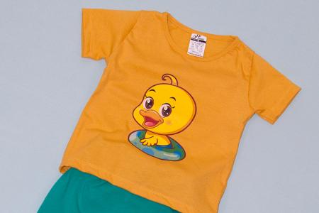 Compleu Tricou Mustar cu Pantalon Baggy Verde Duck1