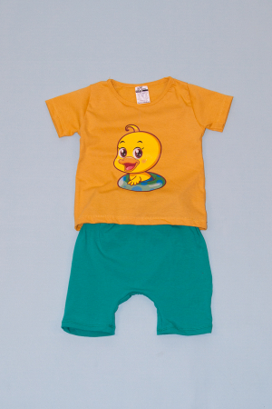 Compleu Tricou Mustar cu Pantalon Baggy Verde Duck0