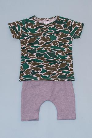 Compleu Tricou Camuflaj cu Pantalon Baggy Gri [0]