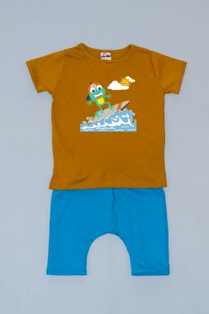 Compleu Tricou cu Pantalon Baggy Albastru Broasca Surfer0