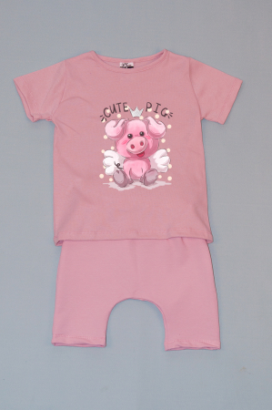 Compleu Tricou cu Pantalon Baggy Roz Cute Pig0