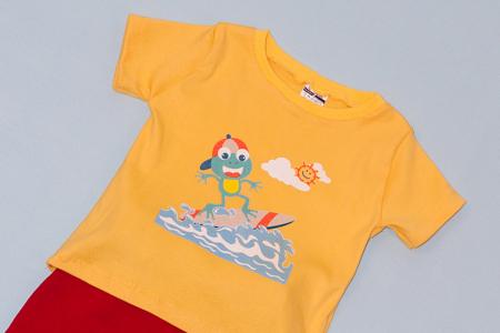 Compleu Tricou cu Pantalon Baggy Rosu Broasca Surfer1