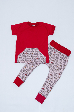 Compleu Tricou Rosu cu Pantalon Baggy Tractorase0