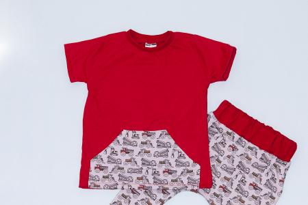 Compleu Tricou Rosu cu Pantalon Baggy Tractorase1