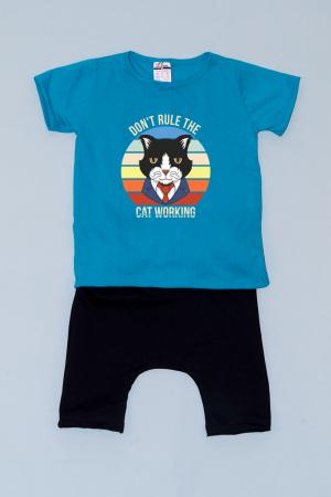 Compleu Tricou cu Pantalon Baggy Negru Business Cat0