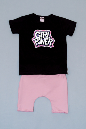 Compleu Tricou cu Pantalon Baggy Roz Girl Power0