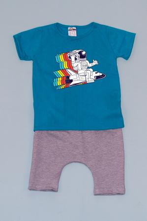 Compleu Tricou cu Pantalon Baggy Gri Astronaut0