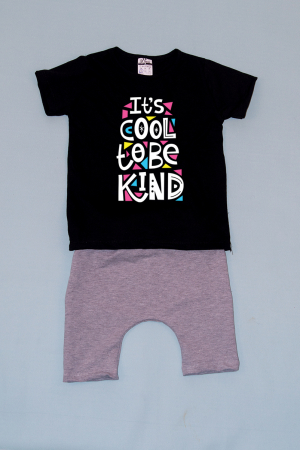 Compleu Tricou cu Pantalon Baggy Gri Be Kind0