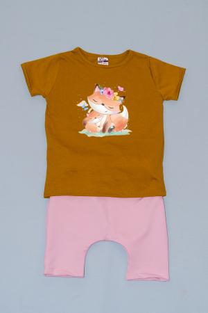 Compleu Tricou cu Pantalon Baggy Roz Pisicute0