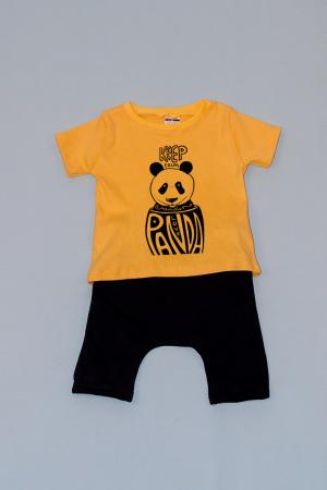 Compleu Tricou cu Pantalon Baggy Negru Panda0