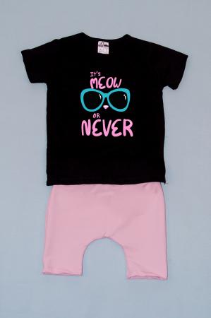 Compleu Tricou cu Pantalon Baggy Roz MeOW or Never0