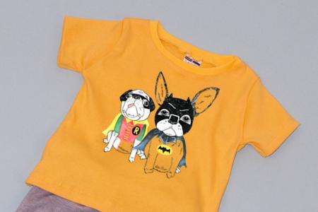 Compleu Tricou cu Pantalon Baggy Gri Dogs1