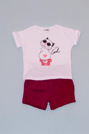 Compleu Tricou Alb cu Pantalon Scurt Rosu Cool0
