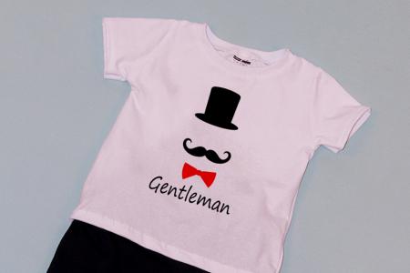 Compleu Tricou Alb cu Pantalon Baggy Negru Gentleman [1]