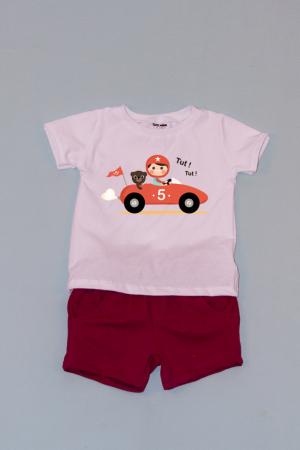 Compleu Tricou Alb cu Pantalon Scurt Rosu Car0